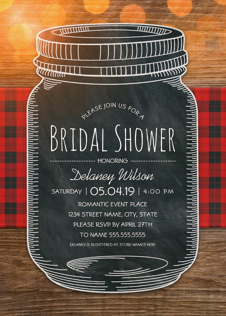 Chalkboard Mason Jar Bridal Shower Invitations – Unique Rustic Country Cards