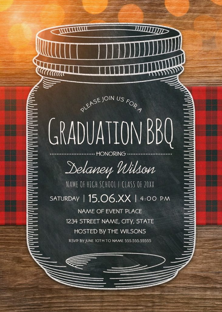 Graduation BBQ Invitations Chalkboard Mason Jar Graduation Party – Unique Rustic Country Cards