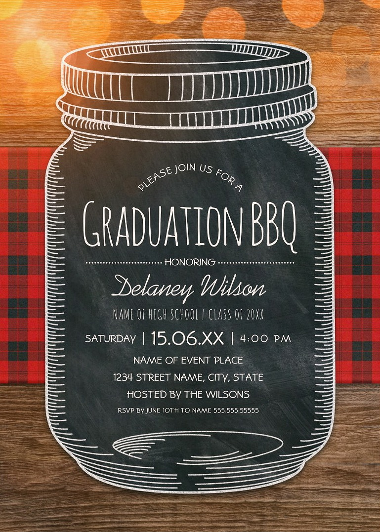graduation bbq invitations chalkboard mason jar graduation party