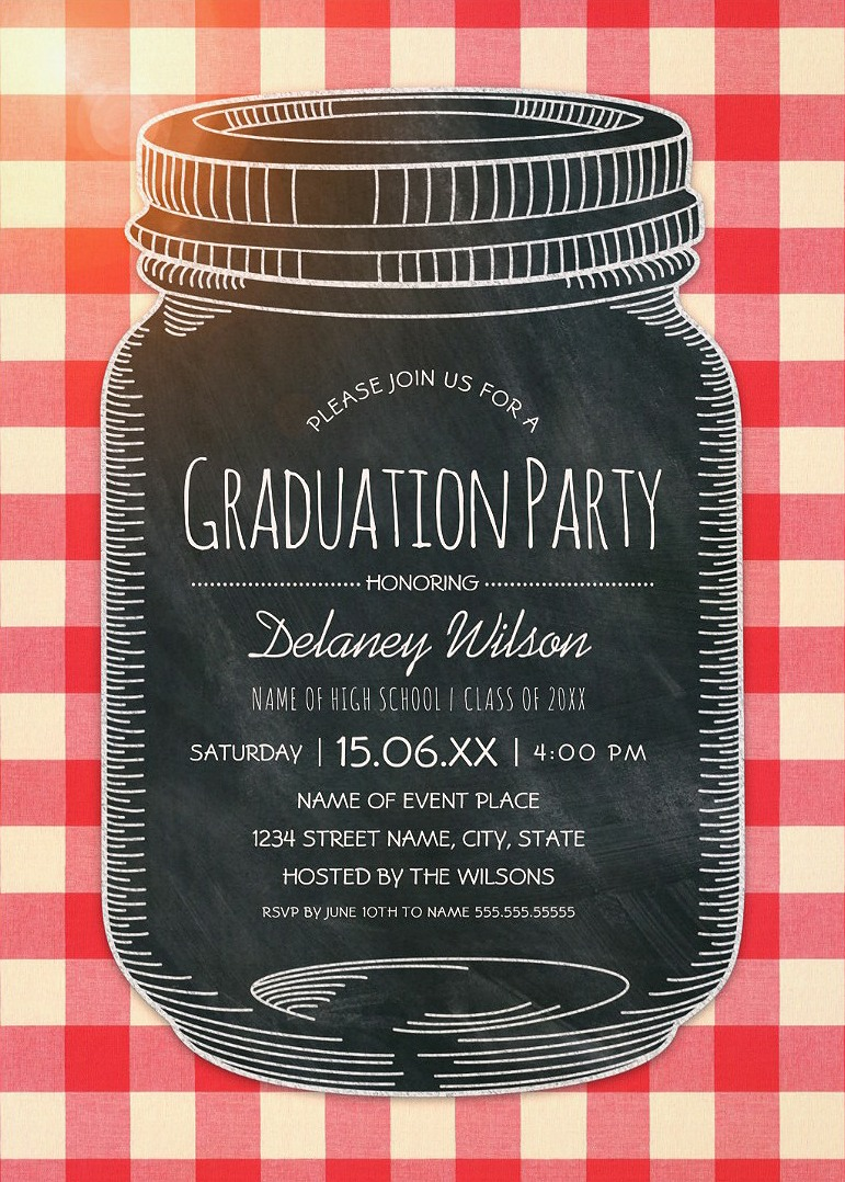 Graduation Picnic Invitations Rustic Country Mason Jar Graduation Party Invitations