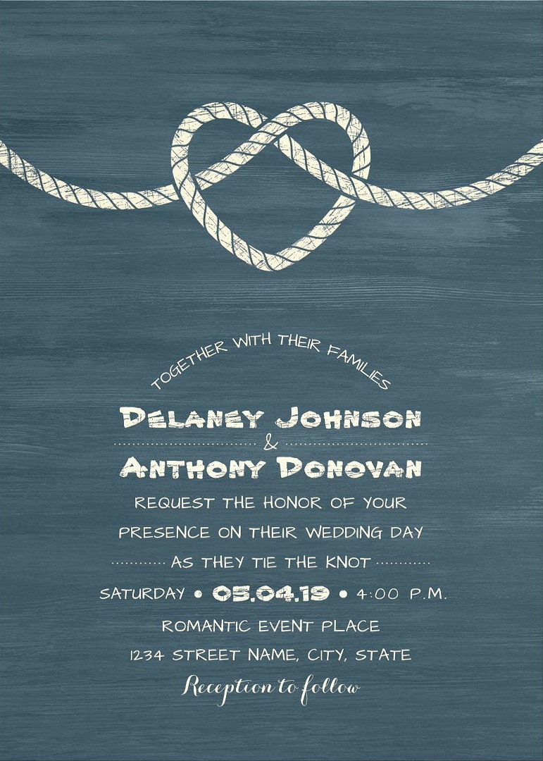 Tie The Knot Wedding Invitations Modern Beach or Nautical Wedding