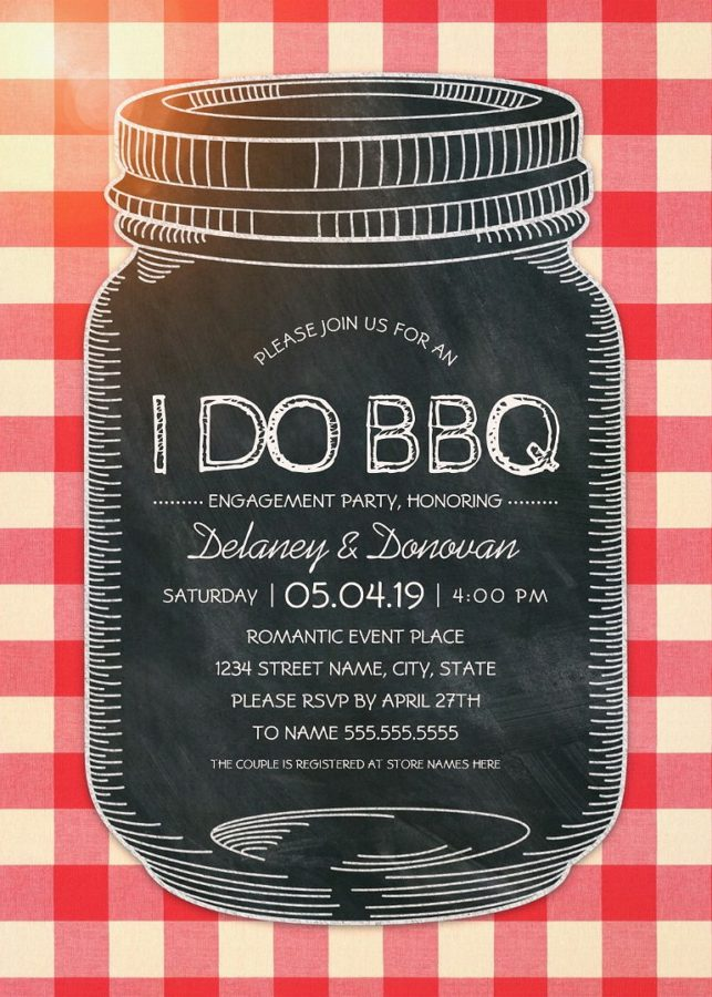 Vintage Rustic I Do BBQ Engagement Party Invitations – Unique Mason Jar Cards