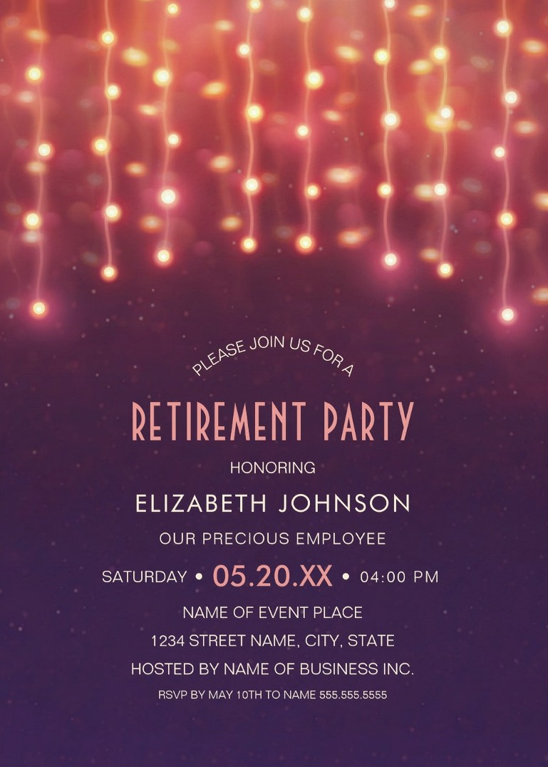 String Lights Retirement Party Invitations Glitter Lights Retirement ...