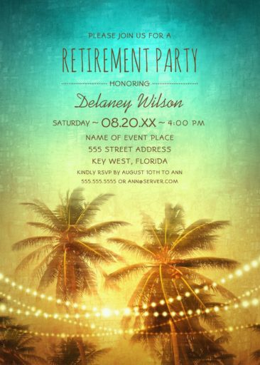 Palm Tree String Lights Tropical Beach Retirement Party Invitations Hawaiian Party Invitations