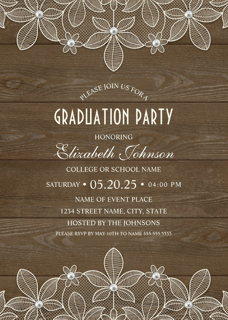 Rustic Wood Graduation Party Invitations Unique Lace Grad Party Invitations