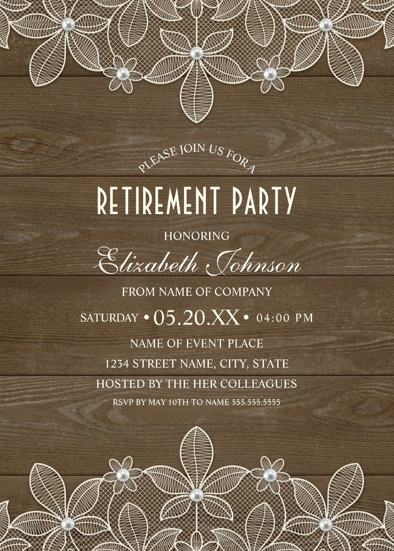 rustic wood retirement party invitations lace pearls retirement