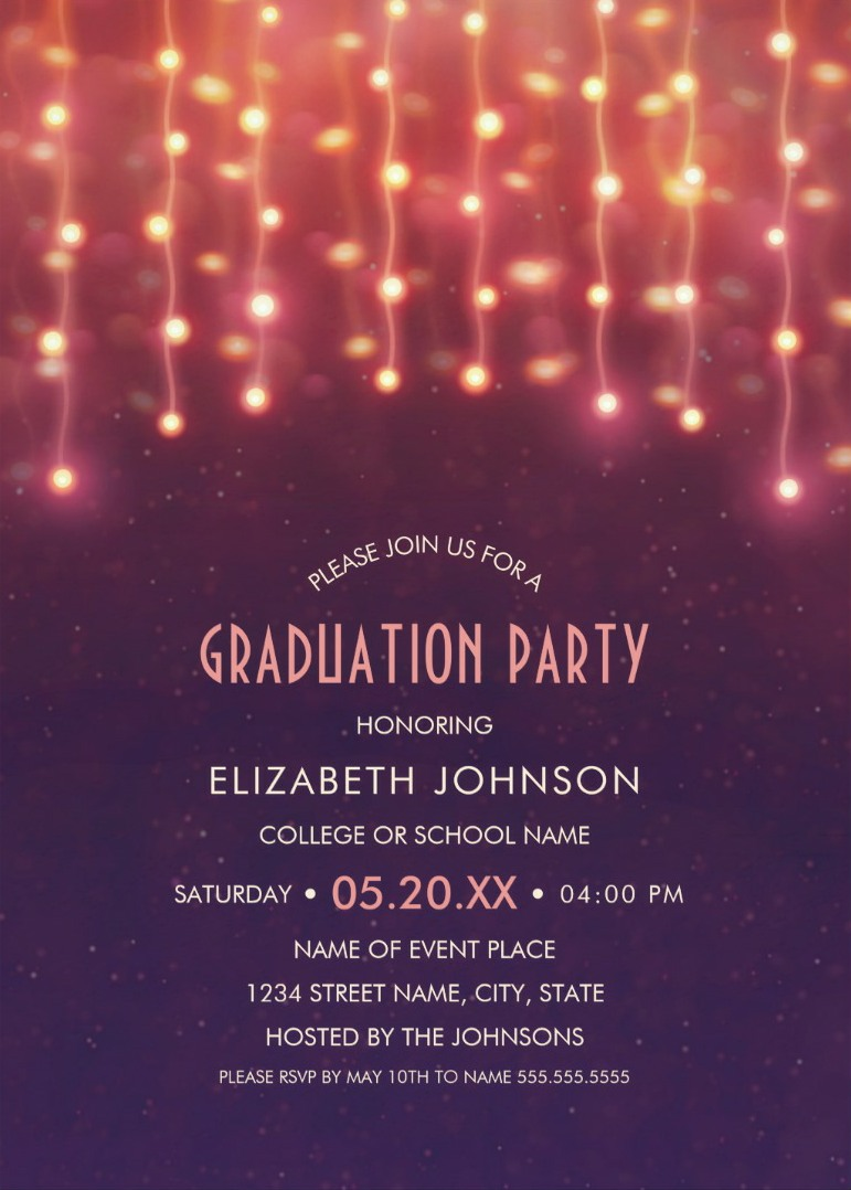Lights Graduation Party Invitations Unique Grad Party Invitations – Grad Party Invites