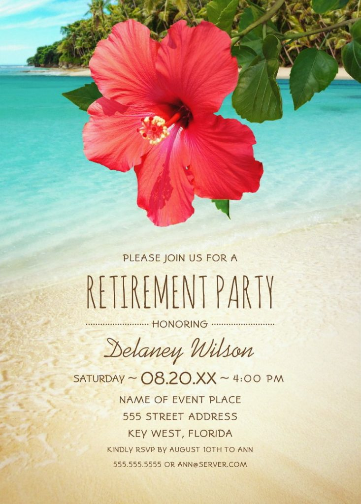 Tropical Beach Hawaiian Retirement Party Invitations Hibiscus Palm Tree Party Invitations
