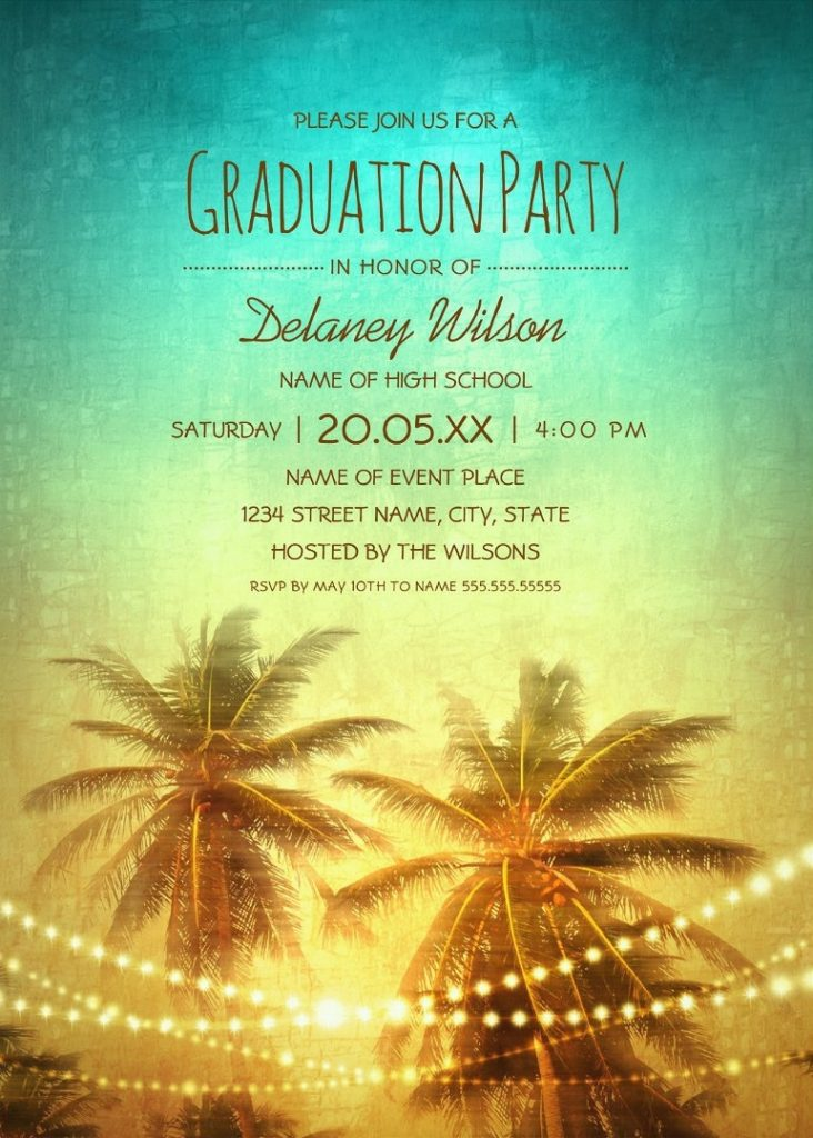 Tropical Beach Palm Tree Graduation Party Invitations String lights Unique Grad Party Invitations