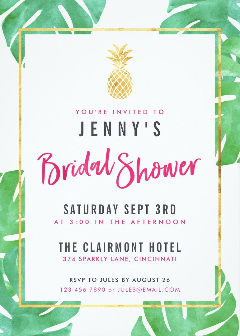 Bridal shower invitations perfect for the new bride to be tropical bridal shower invitations pink gold pineapple bridal shower cards filmwisefo