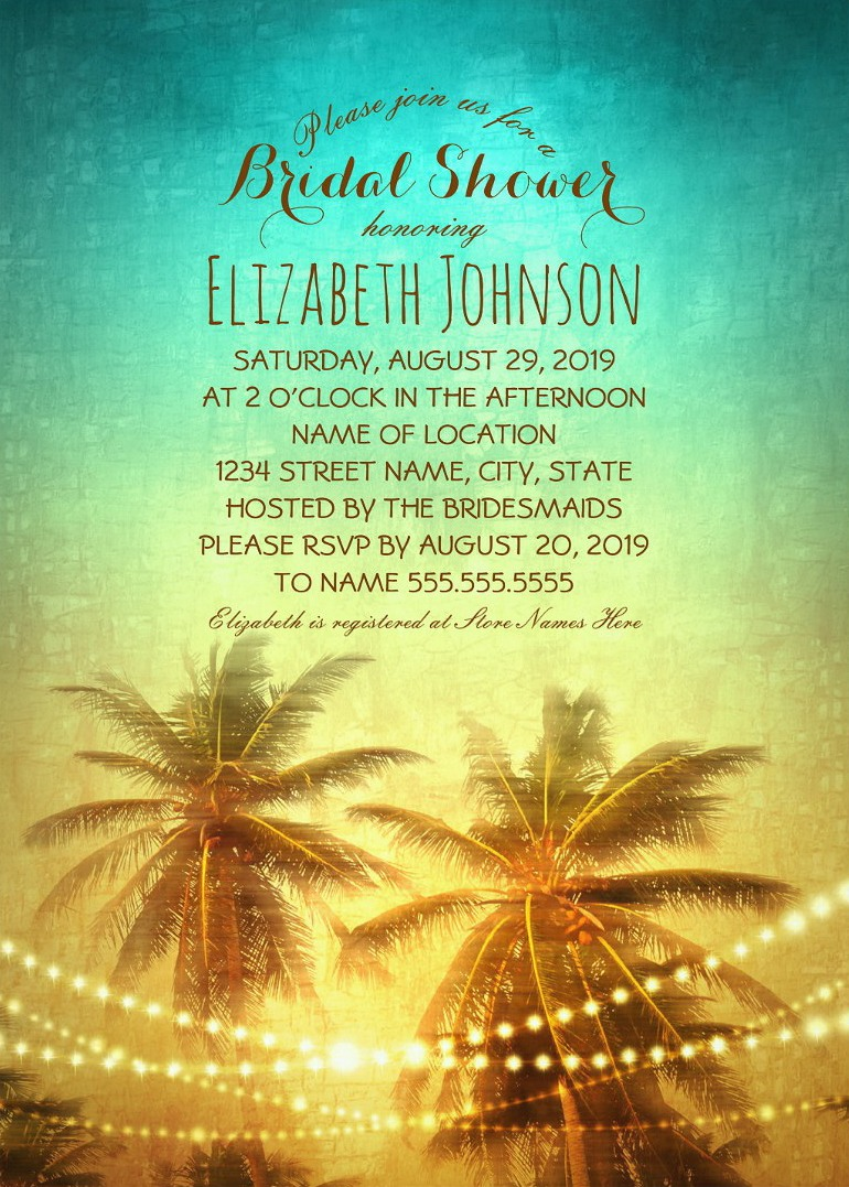 tropical palm trees beach bridal shower invitations string lights bridal shower cards