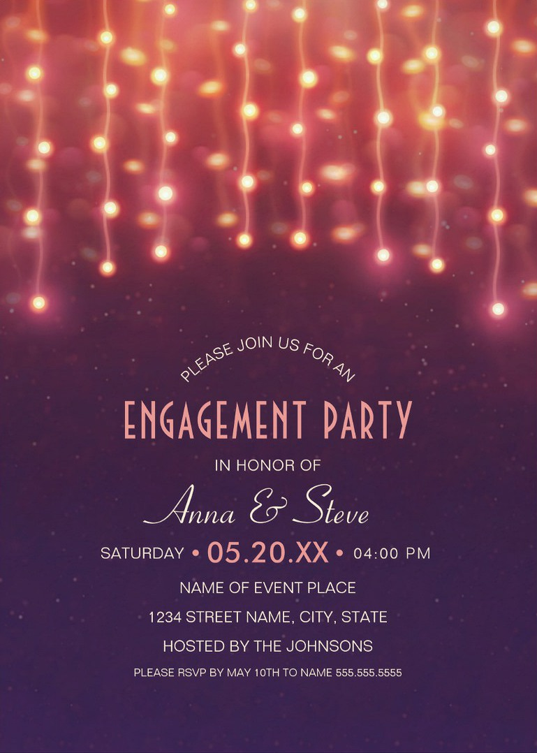 unique string lights engagement party invitations creative couples
