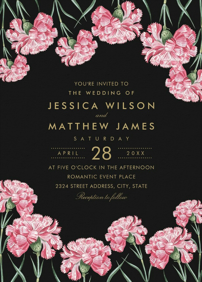 Elegant Classic Floral Wedding Invitations, Unique Traditional Wedding Invitations