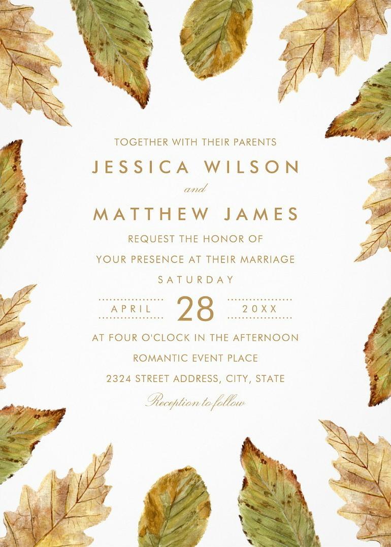 Fall Themed Wedding Invitations Rustic Watercolor Leaves Wedding