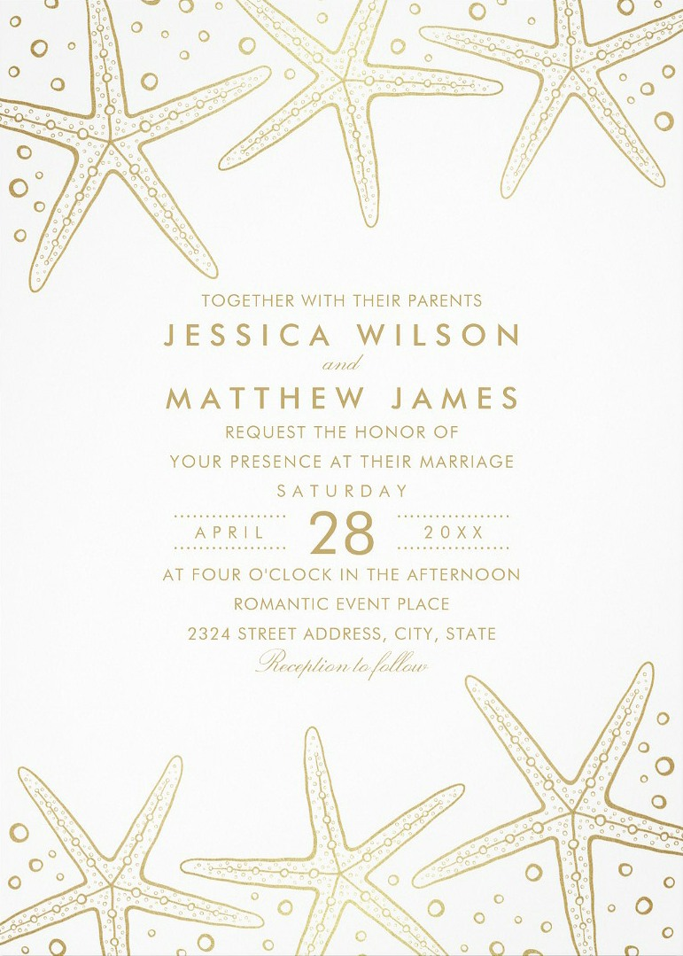 Ocean Starfish Beach Themed Wedding Invitations