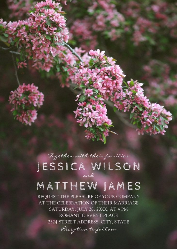 Pink Lilac Cherry Blossom Rustic Spring Floral Wedding Invitations