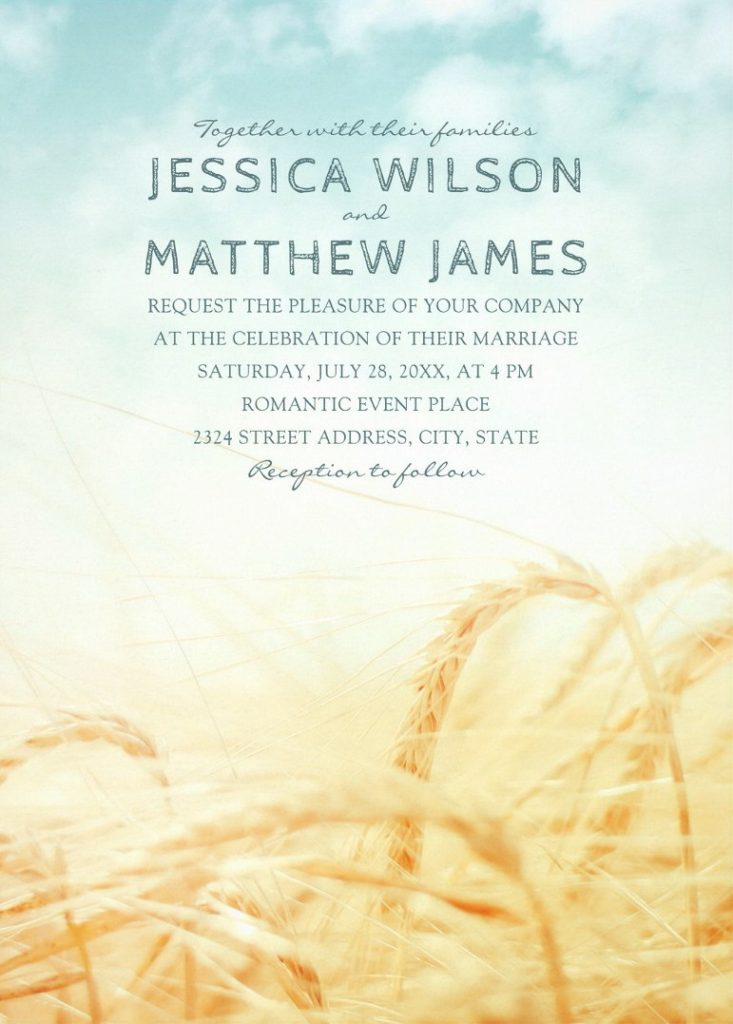 Rustic Barn Summer Wedding Invitations Vintage Wheat Wedding Invitations
