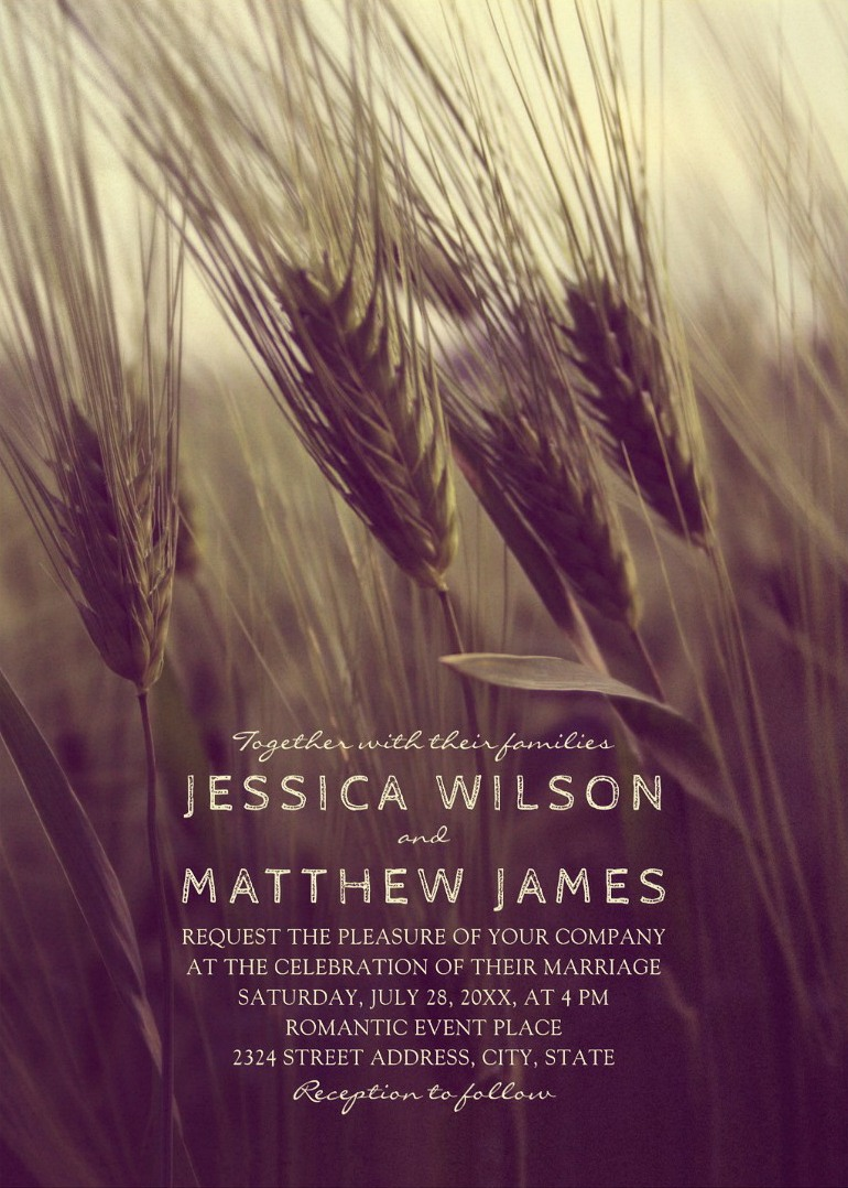Rustic Summer Wedding Invitations Modern Wheat Barn Wedding Invitations