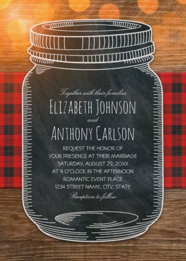 Unique Mason Jar Wedding Invitations - Rustic Country Wedding Invitations