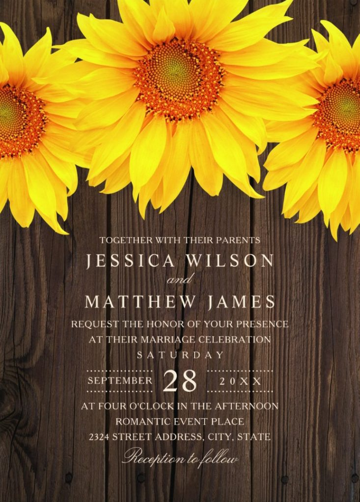 Best Vintage Rustic Sunflower Wedding Invitations Creative Country Wedding Cards