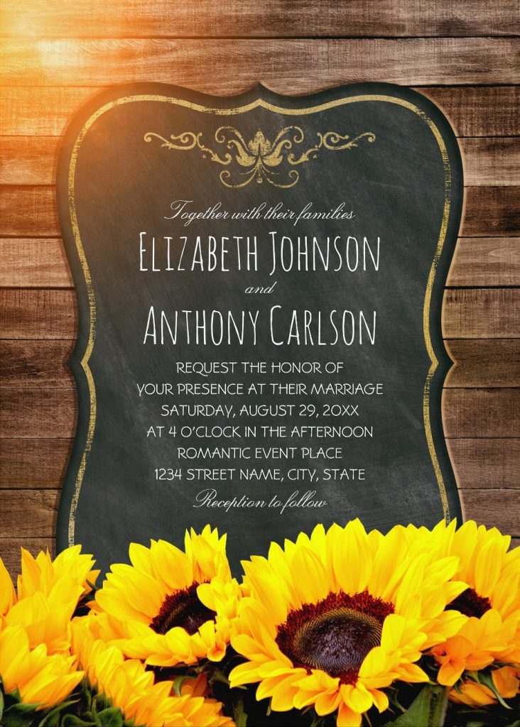 Creative Country Sunflower Wedding Invitations Best Vintage Rustic Wedding Cards