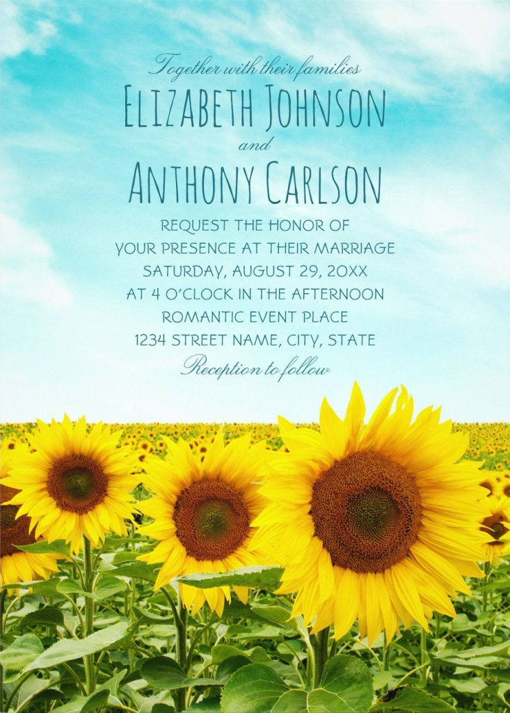Sunflower Field Wedding Invitations Rustic Country Farm Wedding Invites