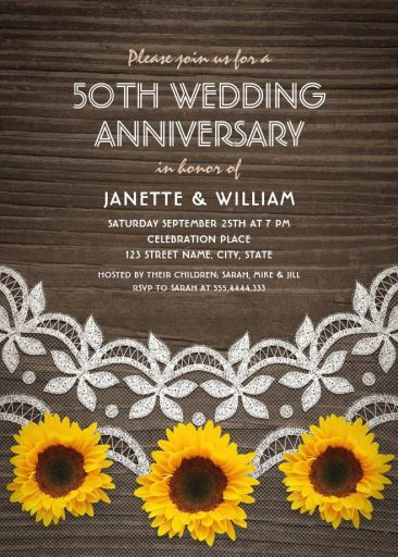 50th Wedding Anniversary Invitations - Country Wood Lace Sunflowers Cards