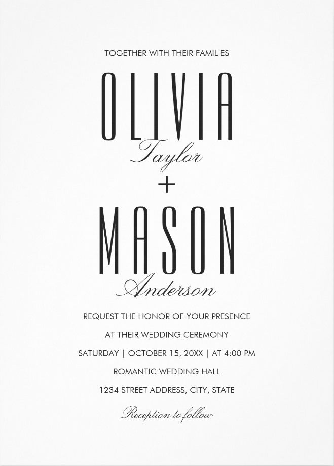 Simple Wedding Invitations - Plain Black and White Wedding Cards