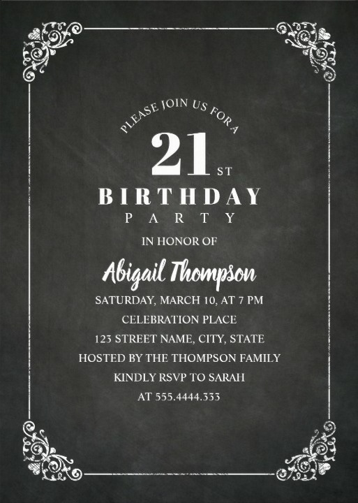 Chalkboard Adult 21st Birthday Party Invitations - Vintage Classic Templates