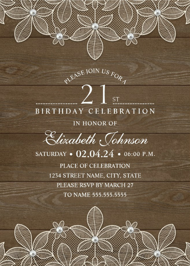 Country Wood 21st Birthday Invitations - Lace and Pearls Party Cards