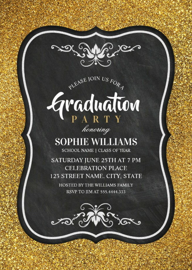 Black And Gold Graduation Party Invitations - Glitter Chalkboard Invites