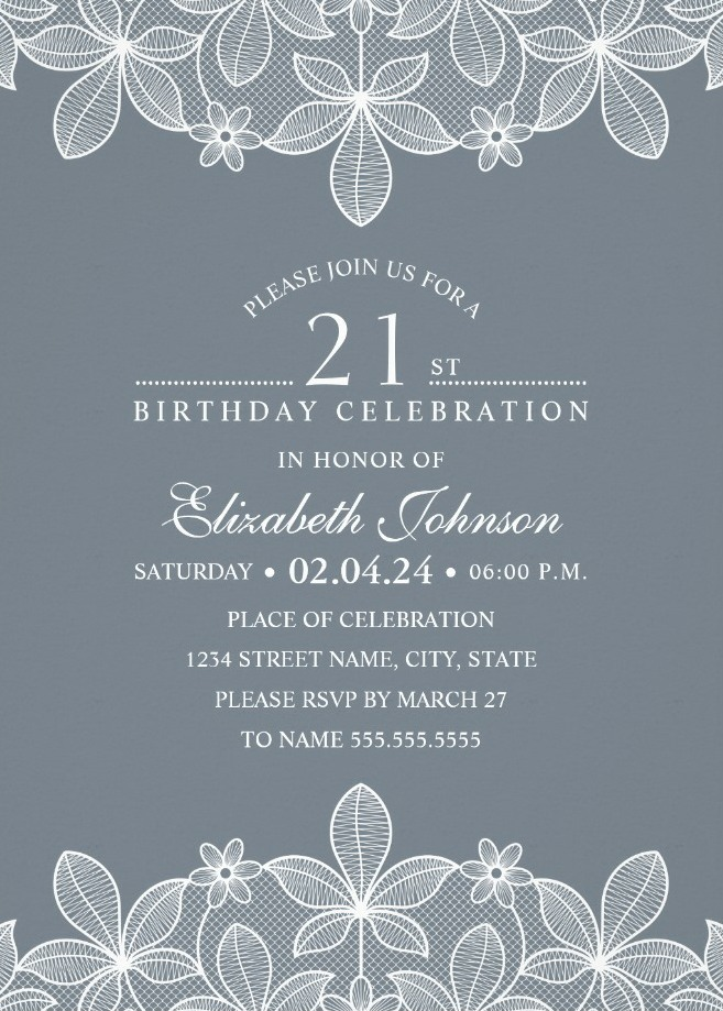 Bluish Grey Lace 21st Birthday Invitations - Elegant Luxury Cards
