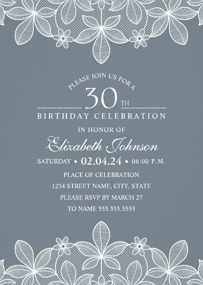 Bluish Grey Lace 30th Birthday Invitations - Elegant Luxury Cards