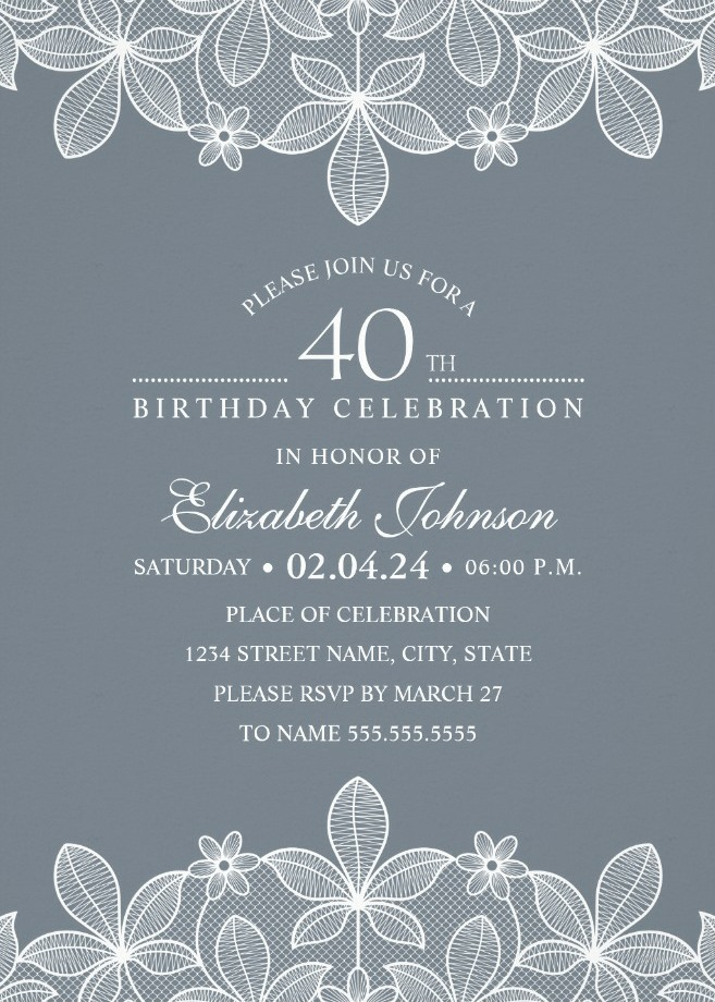 Bluish Grey Lace 40th Birthday Invitations
