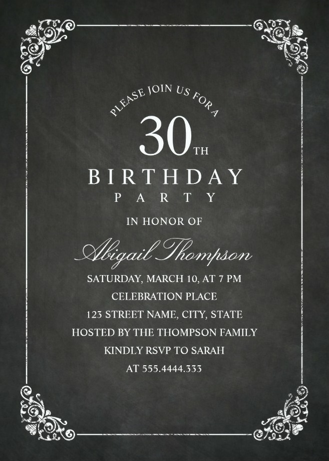 Chalkboard Adult 30th Birthday Party Invitations - Vintage Classic Templates