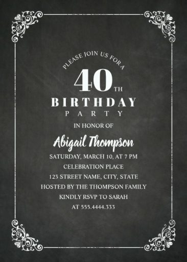 Chalkboard Adult 40th Birthday Party Invitations | Vintage Classic Templates