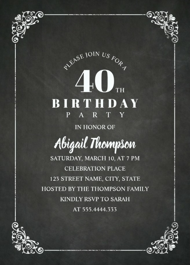 Chalkboard Adult 40th Birthday Party Invitations