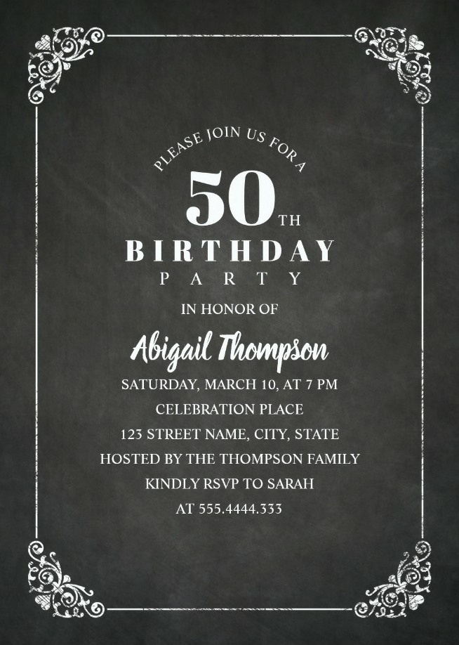 Chalkboard Adult 50th Birthday Party Invitations Vintage