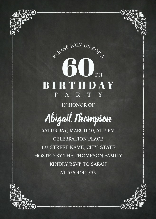 Chalkboard Adult 60th Birthday Party Invitations - Vintage Classic Templates