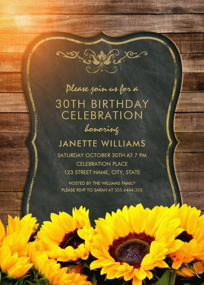 Chalkboard Sunflower 30th Birthday Invitations - Rustic Wood Invites