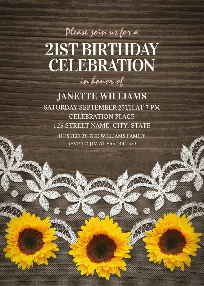 Country Lace Sunflower 21st Birthday Invitations - Rustic Wood Invites