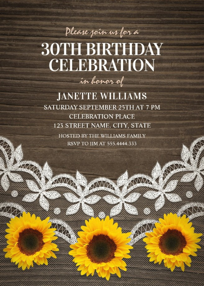 Country Lace Sunflower 30th Birthday Invitations - Rustic Wood Invites