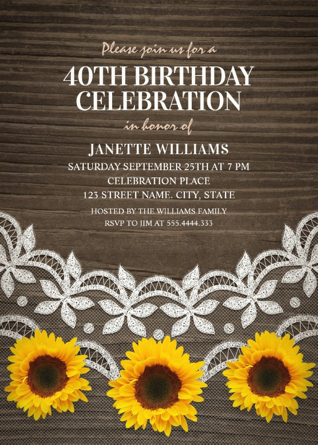 Country Lace Sunflower 40th Birthday Invitations - Rustic Wood Invites