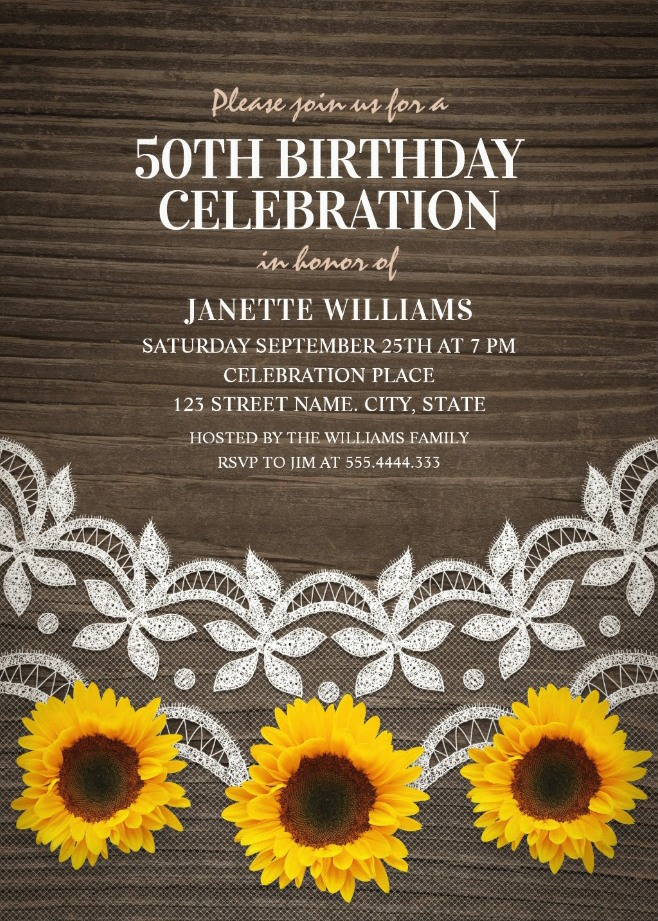 Country Lace Sunflower 50th Birthday Invitations - Rustic Wood Invites