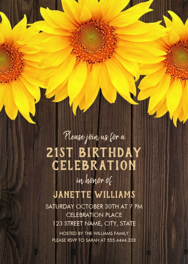 Country Sunflower 21st Birthday Invitations - Rustic Wood Templates