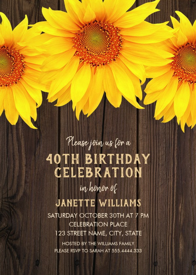 Country Sunflower 40th Birthday Invitations - Rustic Wood Templates