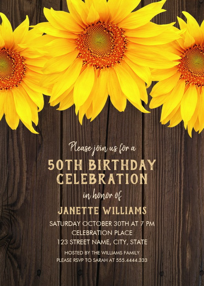 Country Sunflower 50th Birthday Invitations - Rustic Wood Templates