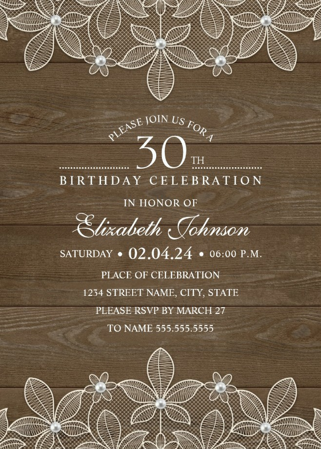 Country Wood 30th Birthday Invitations - Lace and Pearls Party Cards
