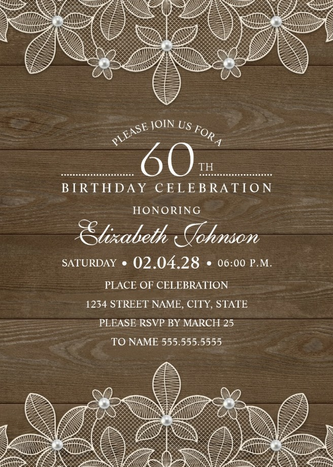 Country Wood 60th Birthday Invitations - Lace and Pearls Party Cards