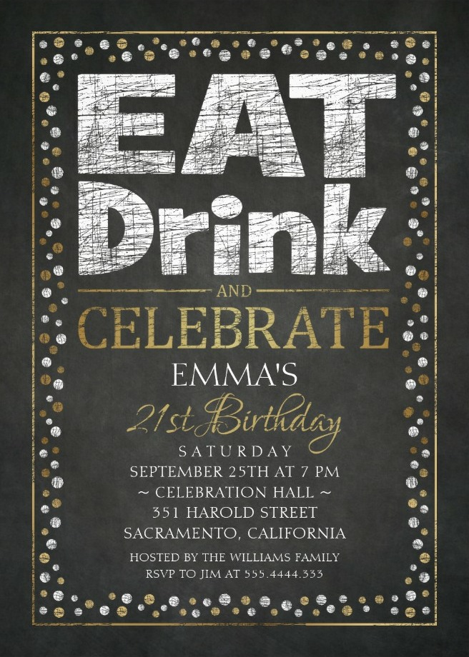 Elegant Adult 21st Birthday Party Invitations | Cool Black White ...